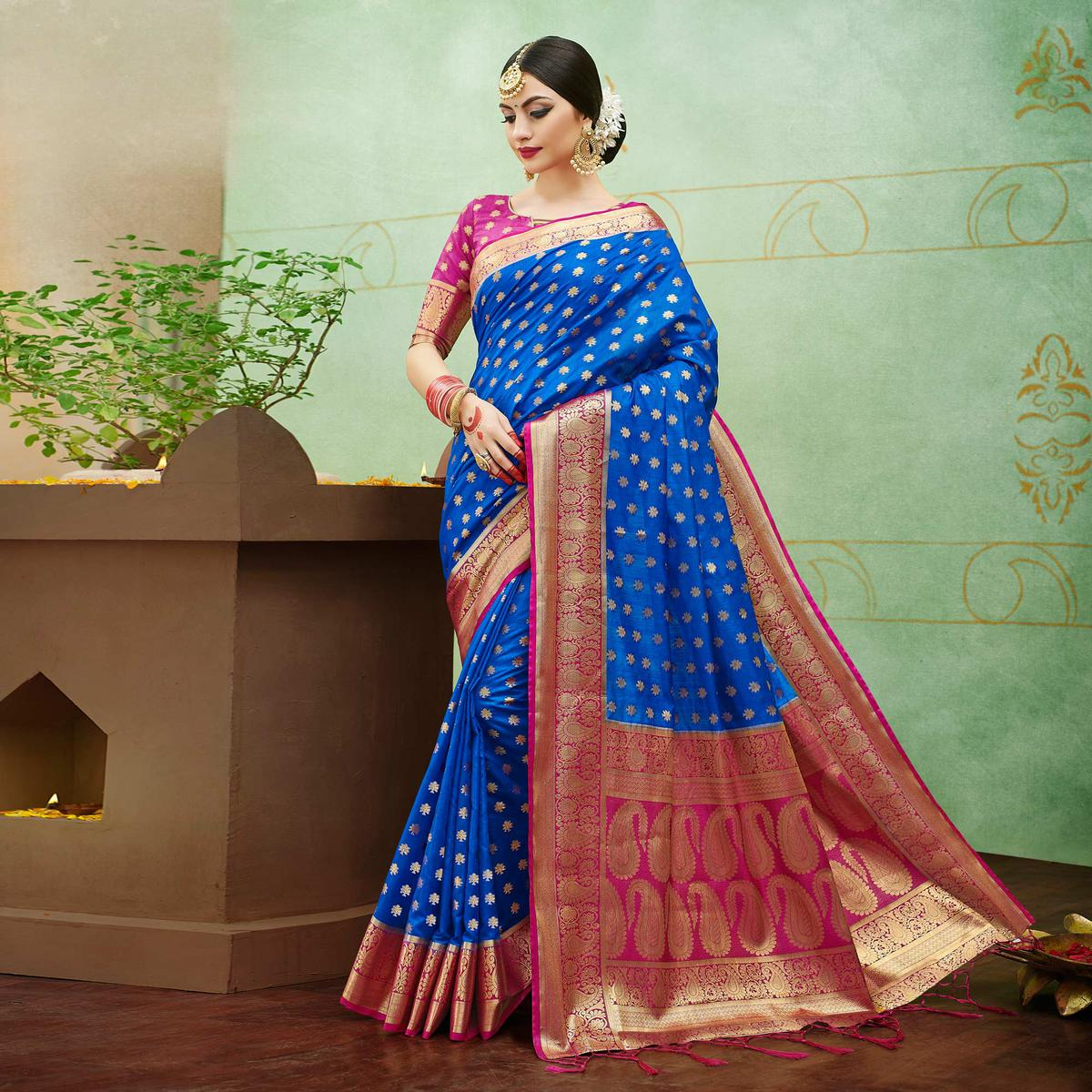 Beautiful Blue Colored Festive Wear Woven Banarasi Silk Saree