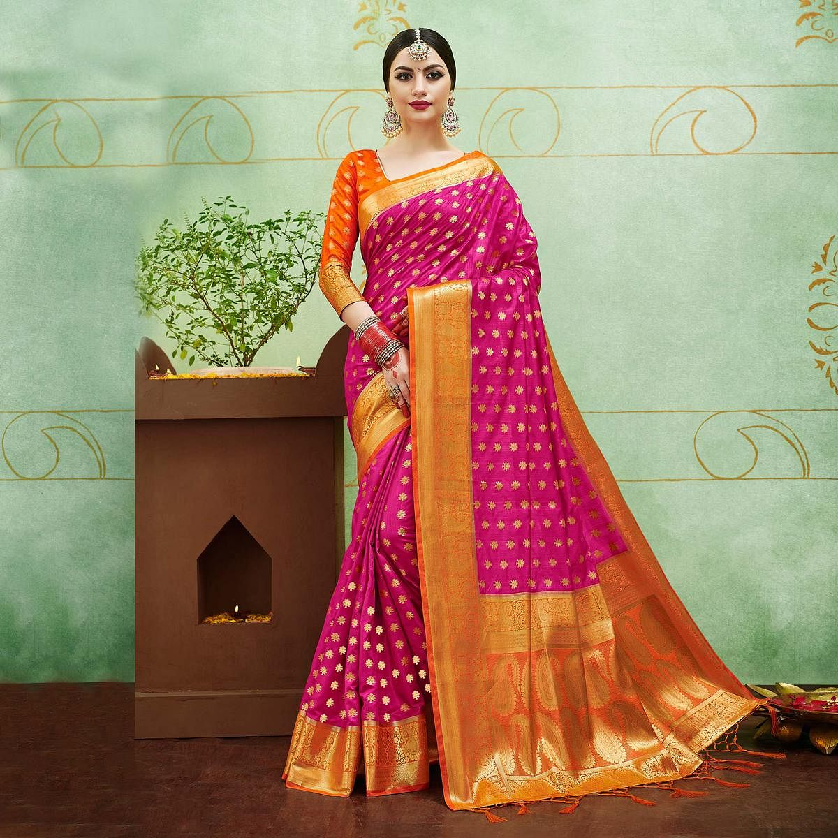 1ece0bb45c Buy Trendy Rani Pink Colored Festive Wear Woven Banarasi Silk Saree for  womens online India, Best Prices, Reviews - Peachmode