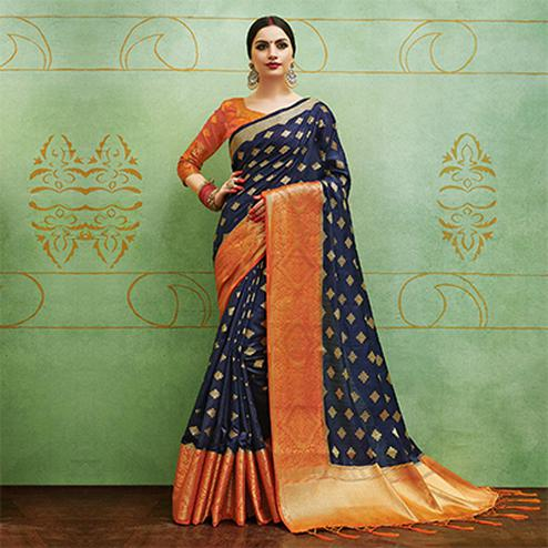 Eye-Catching Navy Blue Colored Festive Wear Woven Banarasi Silk Saree