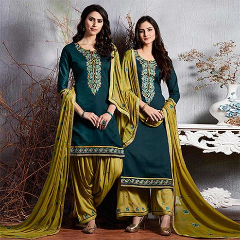 Demanding Rama Colored Partywear Embroidered Cotton Dress Material