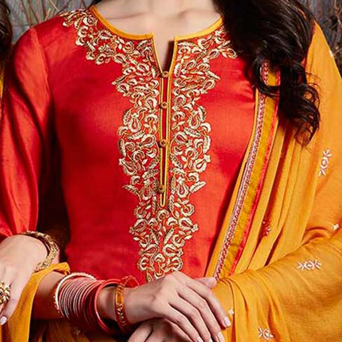 Mesmerising Orange Colored Partywear Embroidered Cotton Dress Material