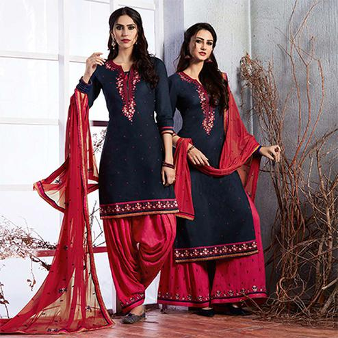 Attractive Navy Blue Colored Partywear Embroidered Cotton Dress Material