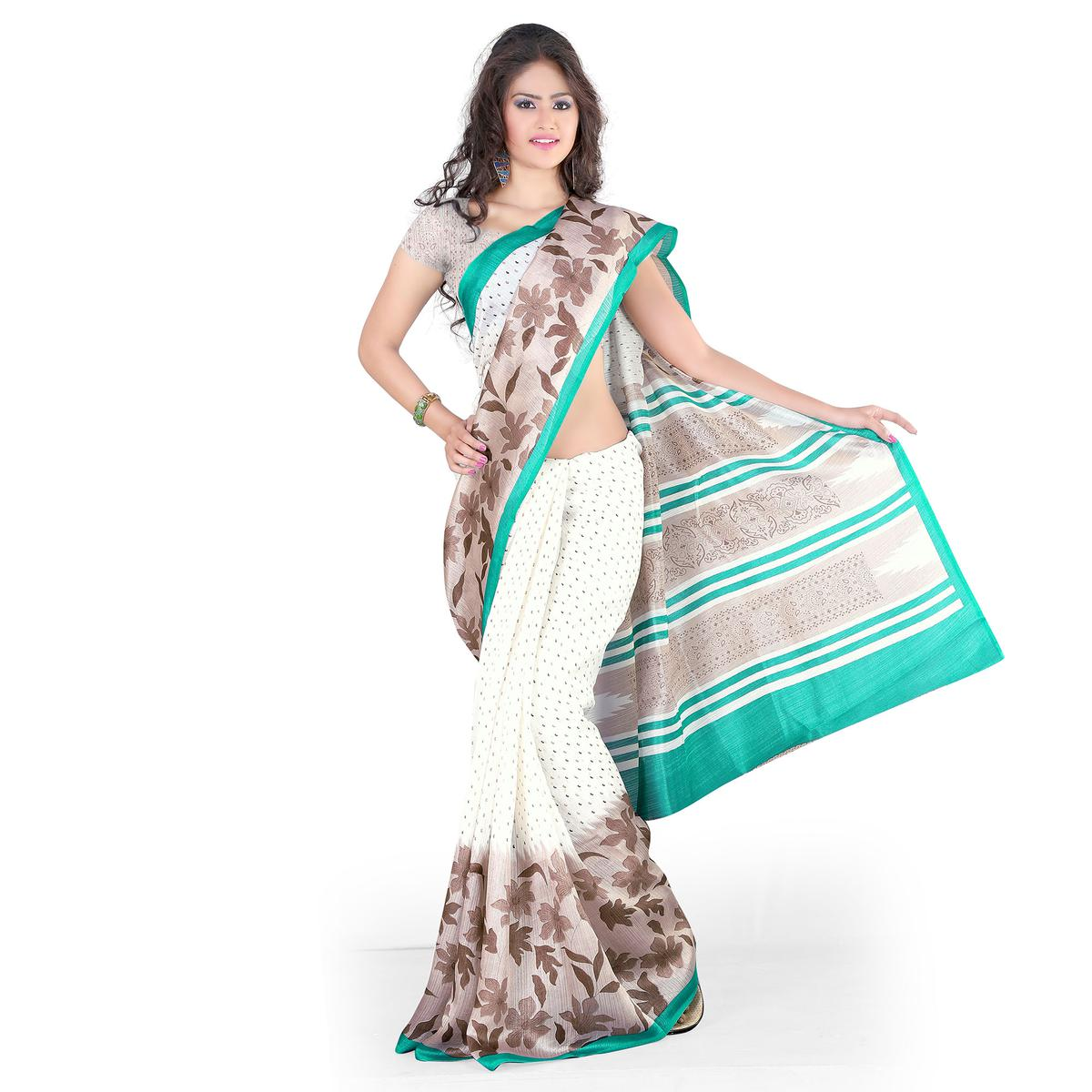 White - Grey Casual Printed Saree