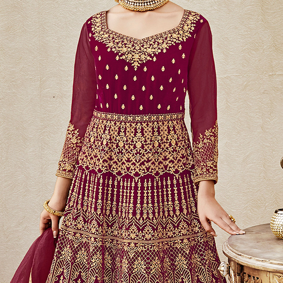 Mesmerising Maroon Colored Designer Wedding Wear Embroidered Velvet Anarkali Suit