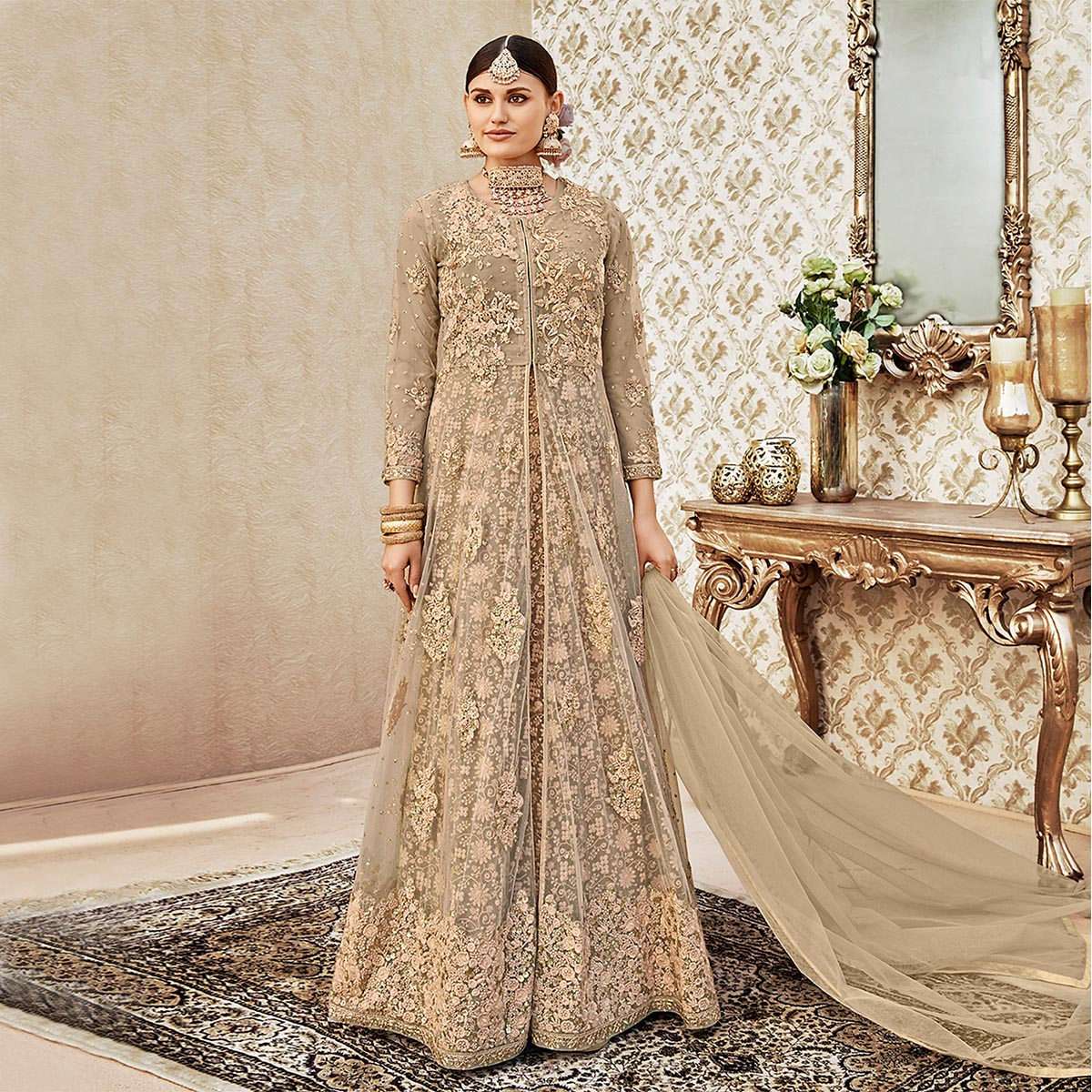 Awesome Beige Colored Designer Wedding Wear Embroidered Net Anarkali Suit