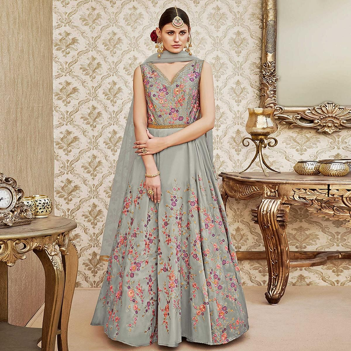 30d8d89a144 Buy Perfect Grey Colored Designer Wedding Wear Embroidered Tapeta Silk  Anarkali Suit for womens online India