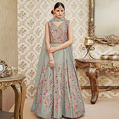 Perfect Grey Colored Designer Wedding Wear Embroidered Tapeta Silk Anarkali Suit
