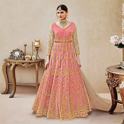 Attractive Pink Colored Designer Wedding Wear Embroidered Net Anarkali Suit