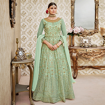 Mystic Pista Green Colored Designer Wedding Wear Embroidered Net Anarkali Suit