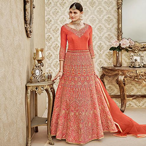 Regal Orange Colored Designer Wedding Wear Embroidered Thapa Silk Anarkali Suit