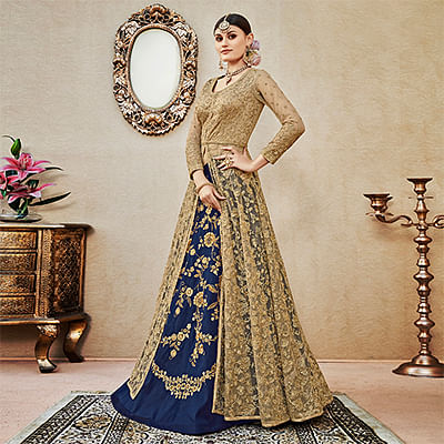 Trendy Beige-Blue Colored Designer Wedding Wear Embroidered Net Lehenga Kameez