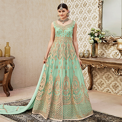 Pretty Pastel Green Colored Designer Wedding Wear Embroidered Net Anarkali Suit
