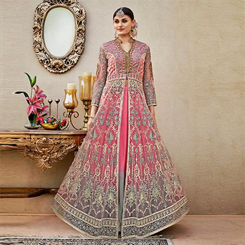 Alluring Pink-Grey Colored Designer Wedding Wear Embroidered Net Lehenga Kameez