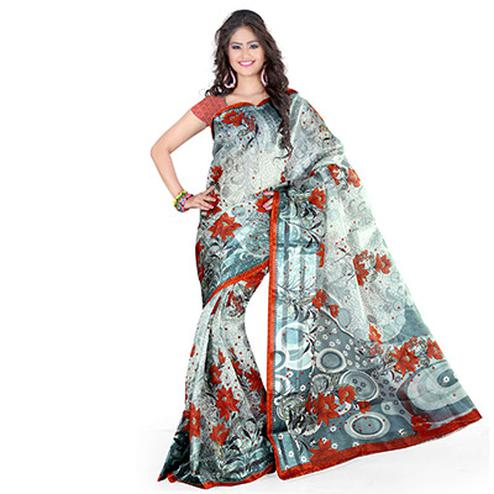 Grey - Red Floral Printed Saree