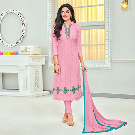 Pretty Pink Colored Embroidered Cotton Dress Material