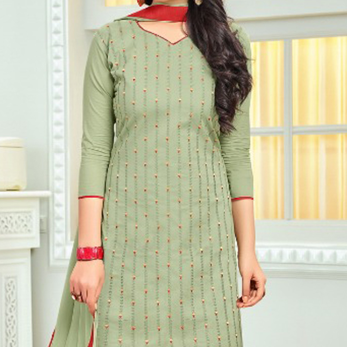 Trendy Light Olive Green Colored Embroidered Cotton Dress Material