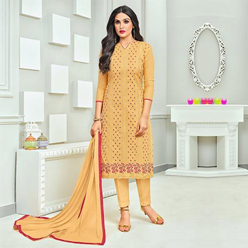 Glowing Yellow Colored Embroidered Cotton Dress Material