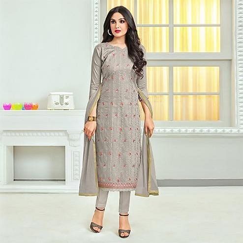 Groovy Gray Colored Embroidered Cotton Dress Material