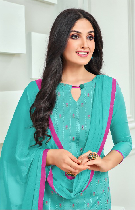 Gorgeous Aqua Blue Colored Embroidered Cotton Dress Material