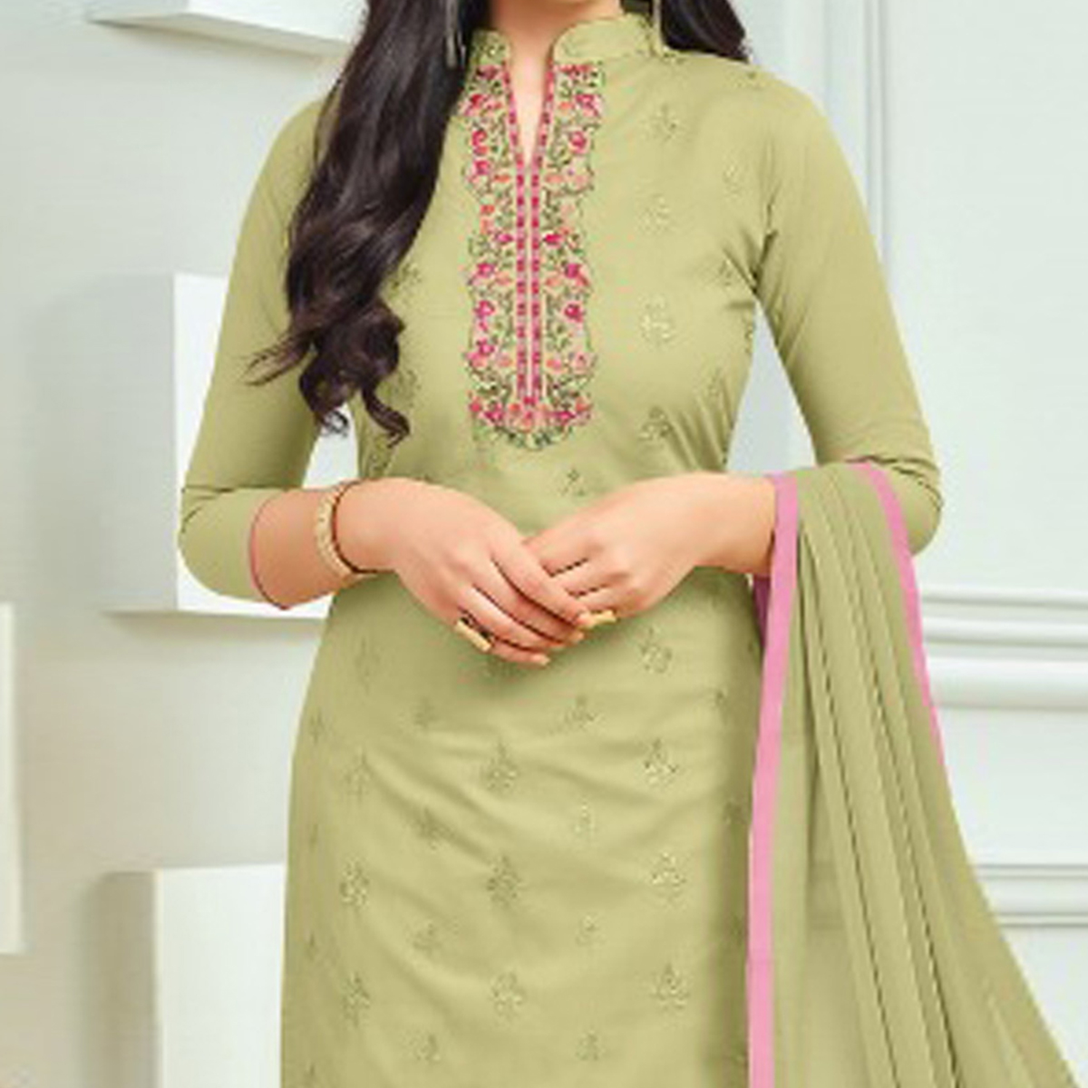 Beautiful Light Olive Green Colored Embroidered Cotton Dress Material