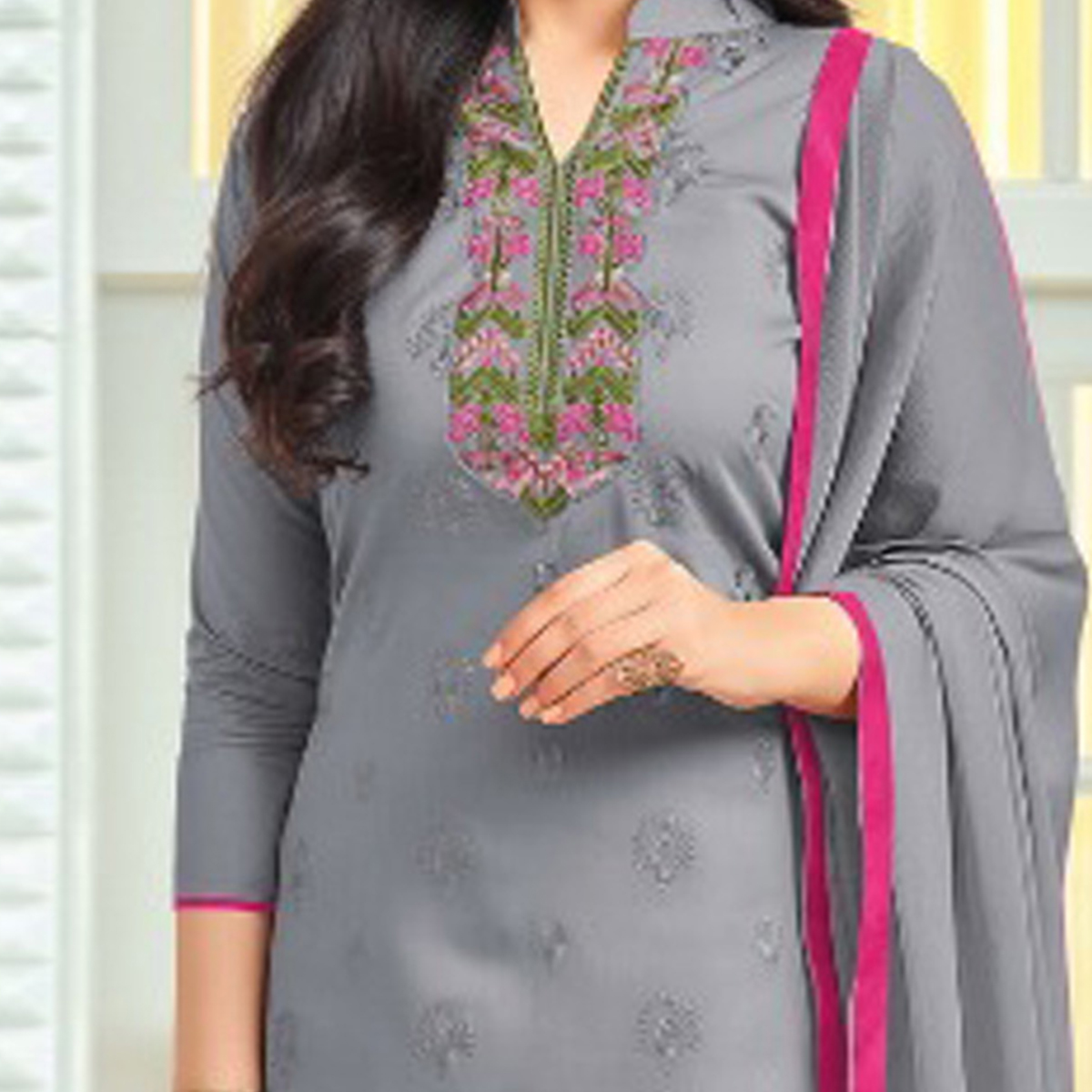Stylish Gray Colored Embroidered Cotton Dress Material