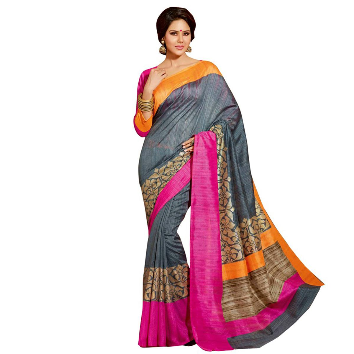 Grey - Pink Printed Cotton Saree