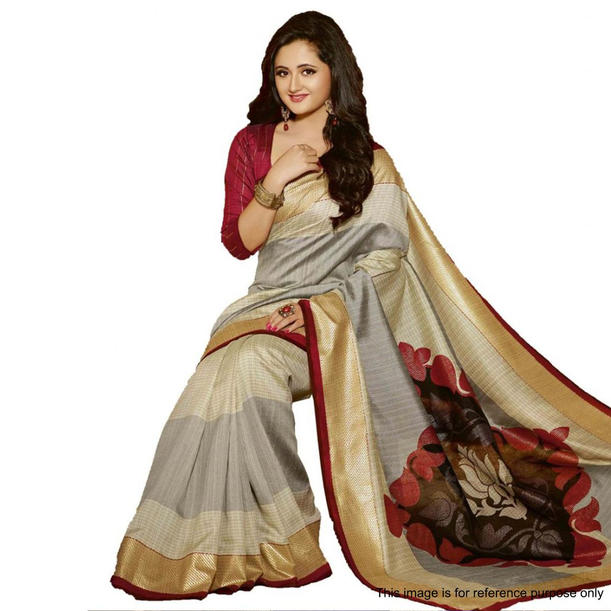 Cream - Grey Casual Wear Saree