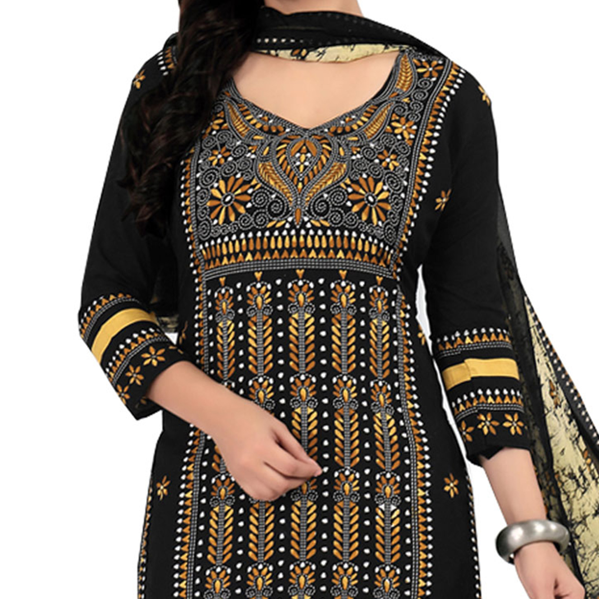 Stunning Black Cotton Printed Casual Dress Material