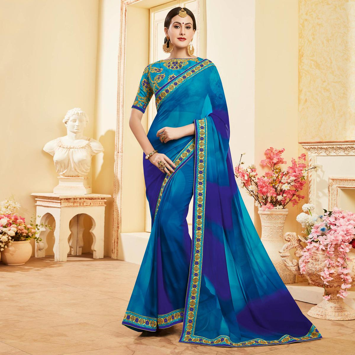 Charming Blue Colored Embroidered Work Blouse Party Wear Georgette Saree
