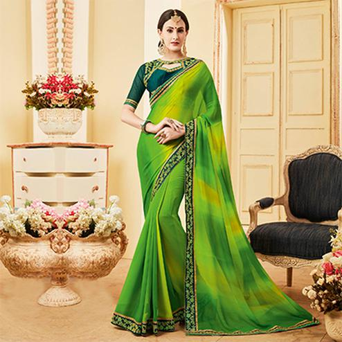 Ravishing Green Colored Embroidered Work Blouse Party Wear Georgette Saree