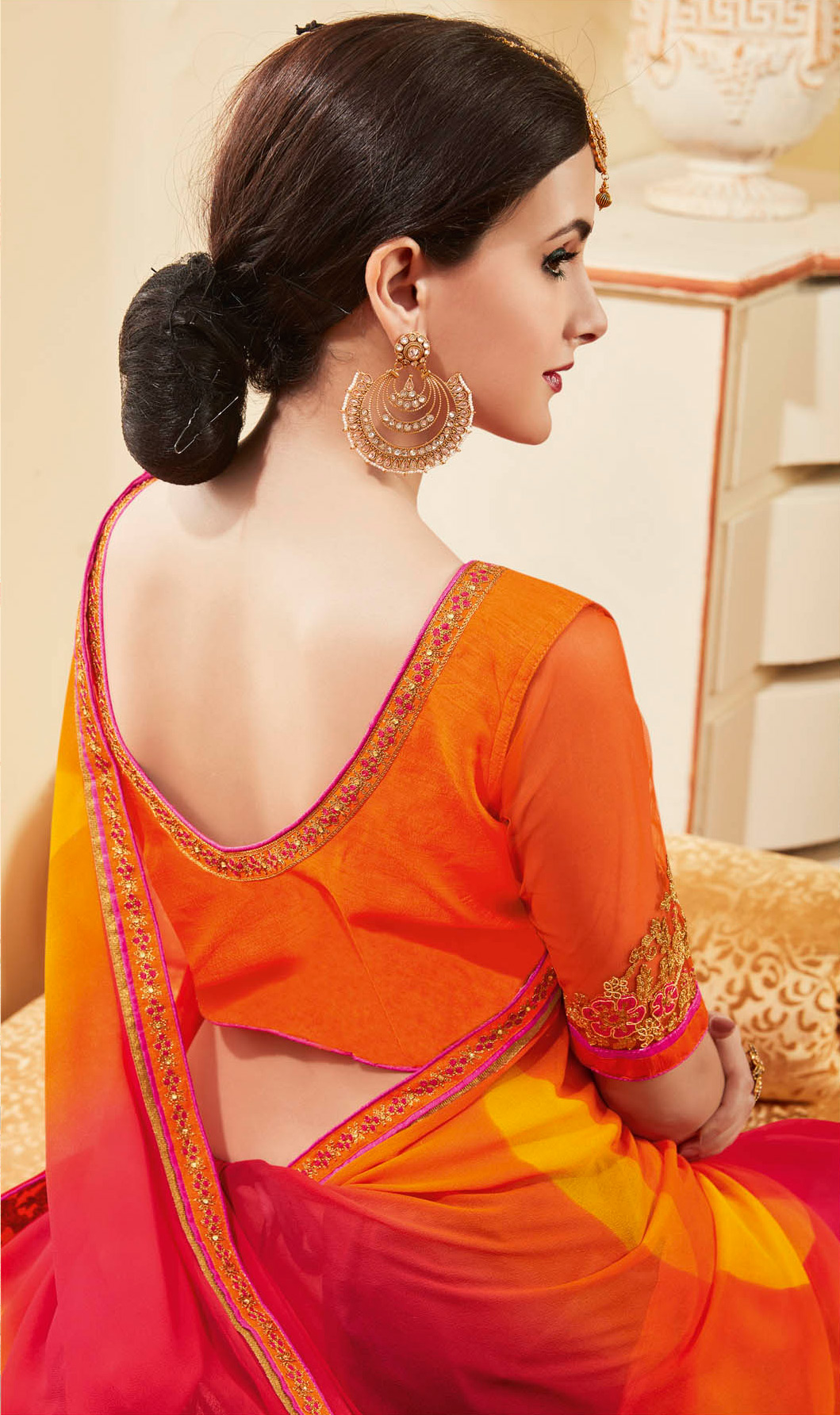 Delightful Pink & Orange Colored Embroidered Work Blouse Party Wear Georgette Saree
