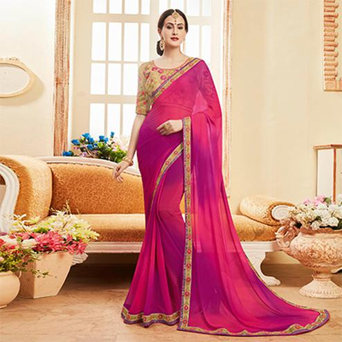 Marvellous Magenta Pink Colored Embroidered Work Blouse Party Wear Georgette Saree