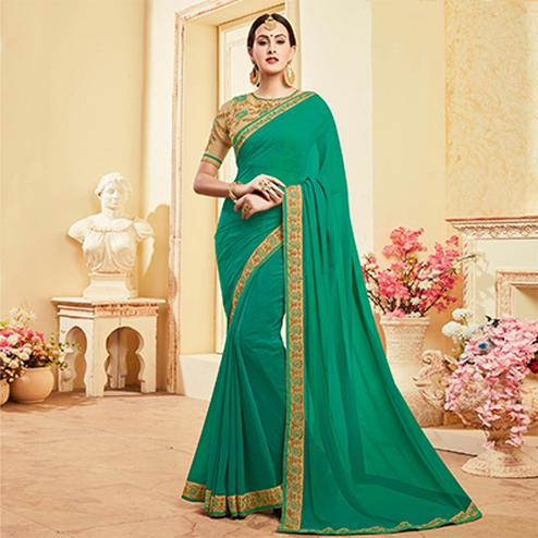 Mesmerising Green Colored Embroidered Work Blouse Party Wear Georgette Saree