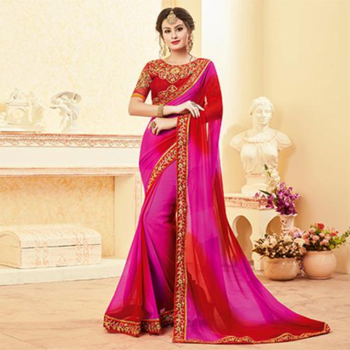 Ravishing Pink & Red Colored Embroidered Work Blouse Party Wear Georgette Saree