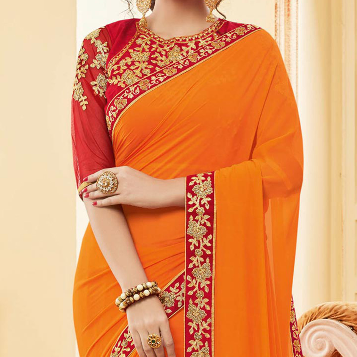 Amazing Orange Colored Embroidered Work Blouse Party Wear Georgette Saree