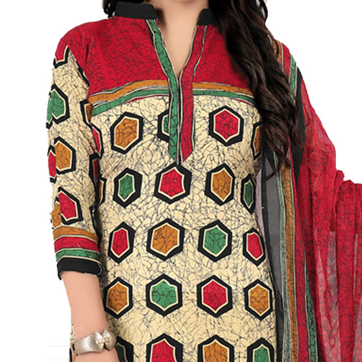 Stylish Multicolor Cotton Printed Casual Dress Material