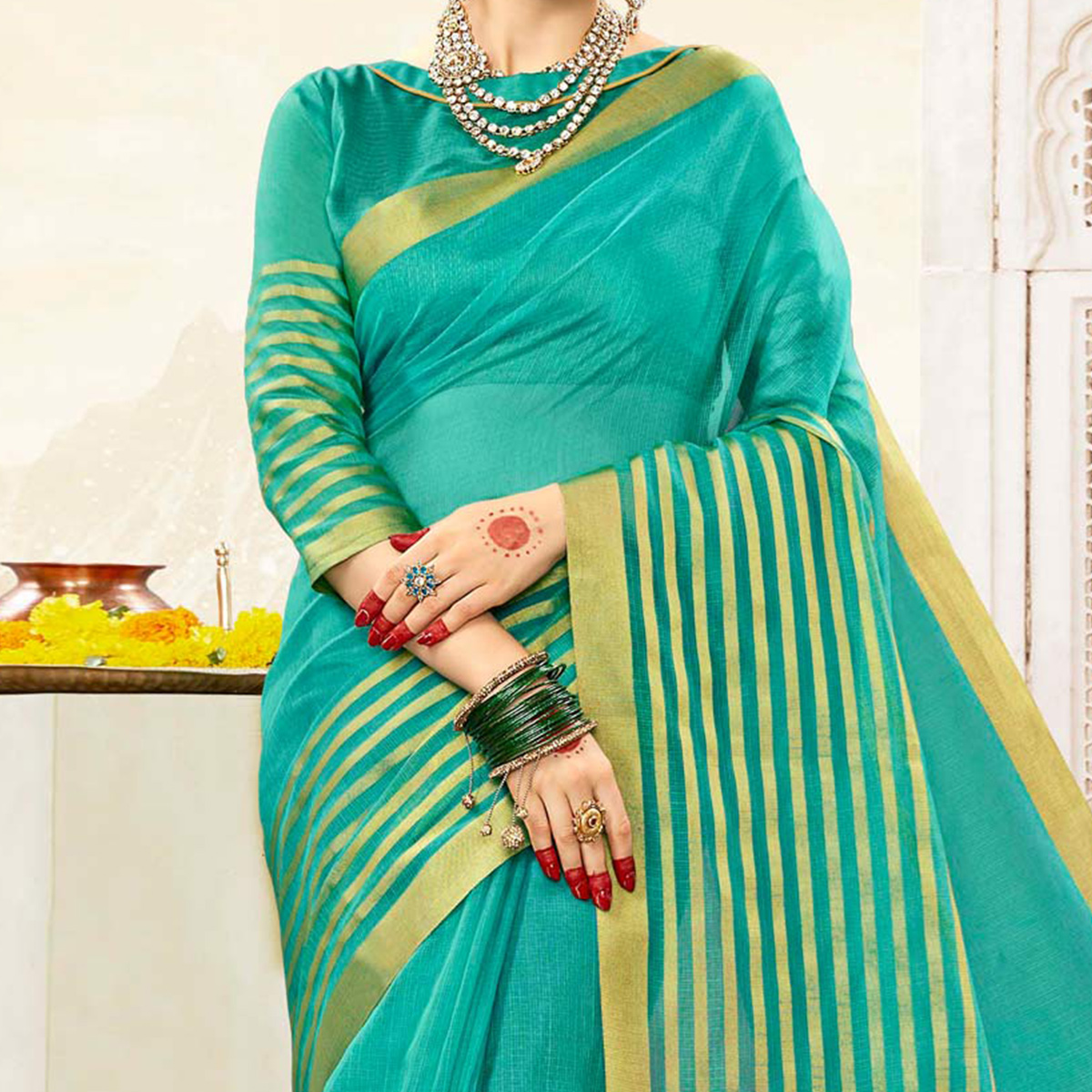 Attractive Turquoise Blue Colored Festive Wear Handloom Cotton Silk Saree
