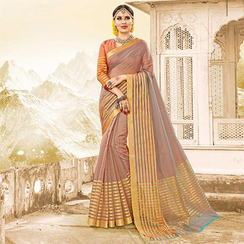 Majesty Grey - Peach Colored Festive Wear Handloom Cotton Silk Saree