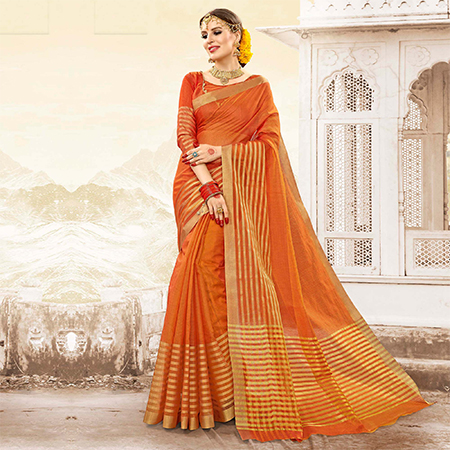 Deserving Orange Colored Festive Wear Handloom Cotton Silk Saree