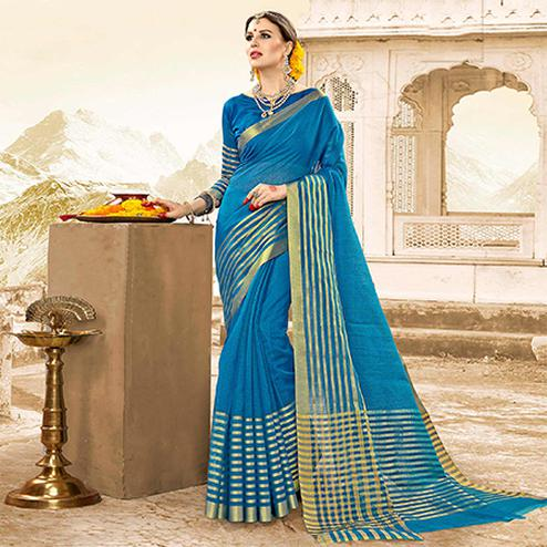 Extraordinary Blue Colored Festive Wear Handloom Cotton Silk Saree