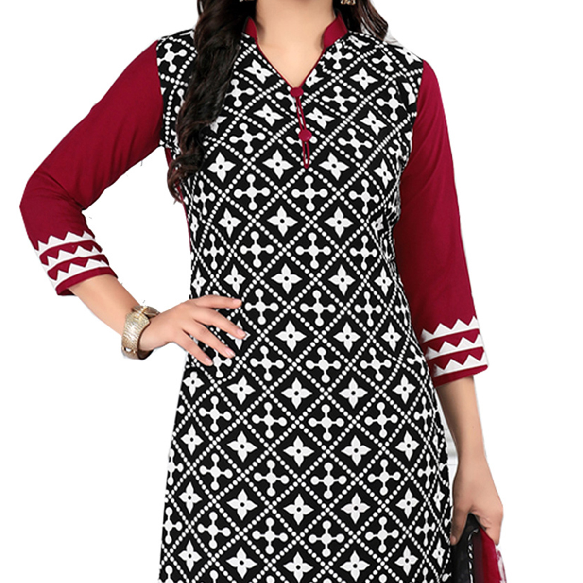 Classy Black Cotton Printed Casual Dress Material