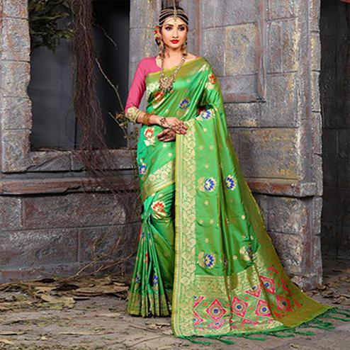 Blooming Green Colored Festive Wear Woven Art Silk Saree