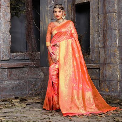 Mesmerising Peach Colored Festive Wear Woven Art Silk Saree