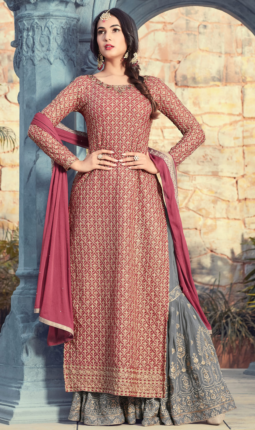 Mesmerising Maroon Colored Partywear Embroidered Georgette Palazzo Suit