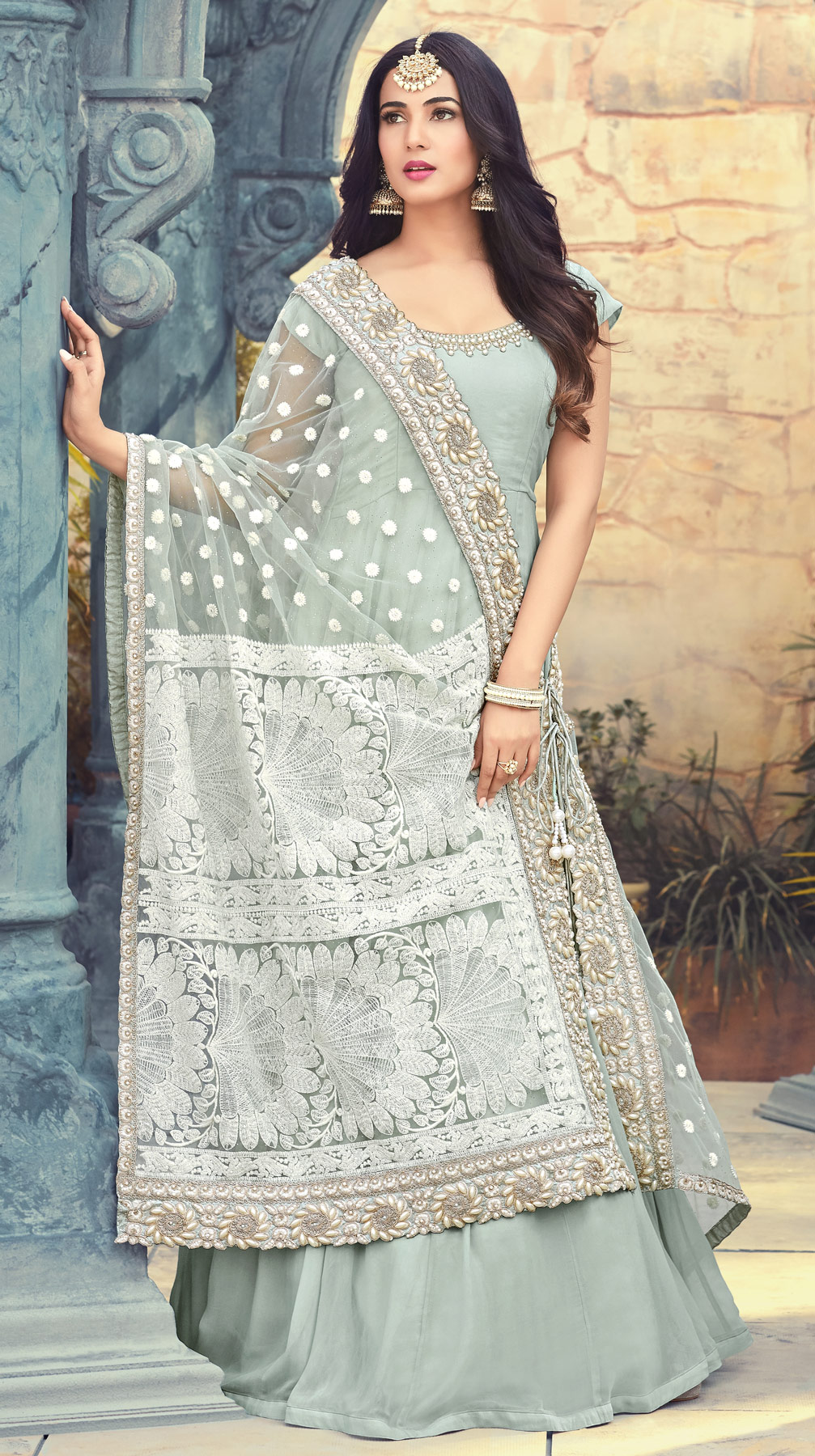 Demanding Gray Colored Partywear Embroidered Georgette Anarkali Suit