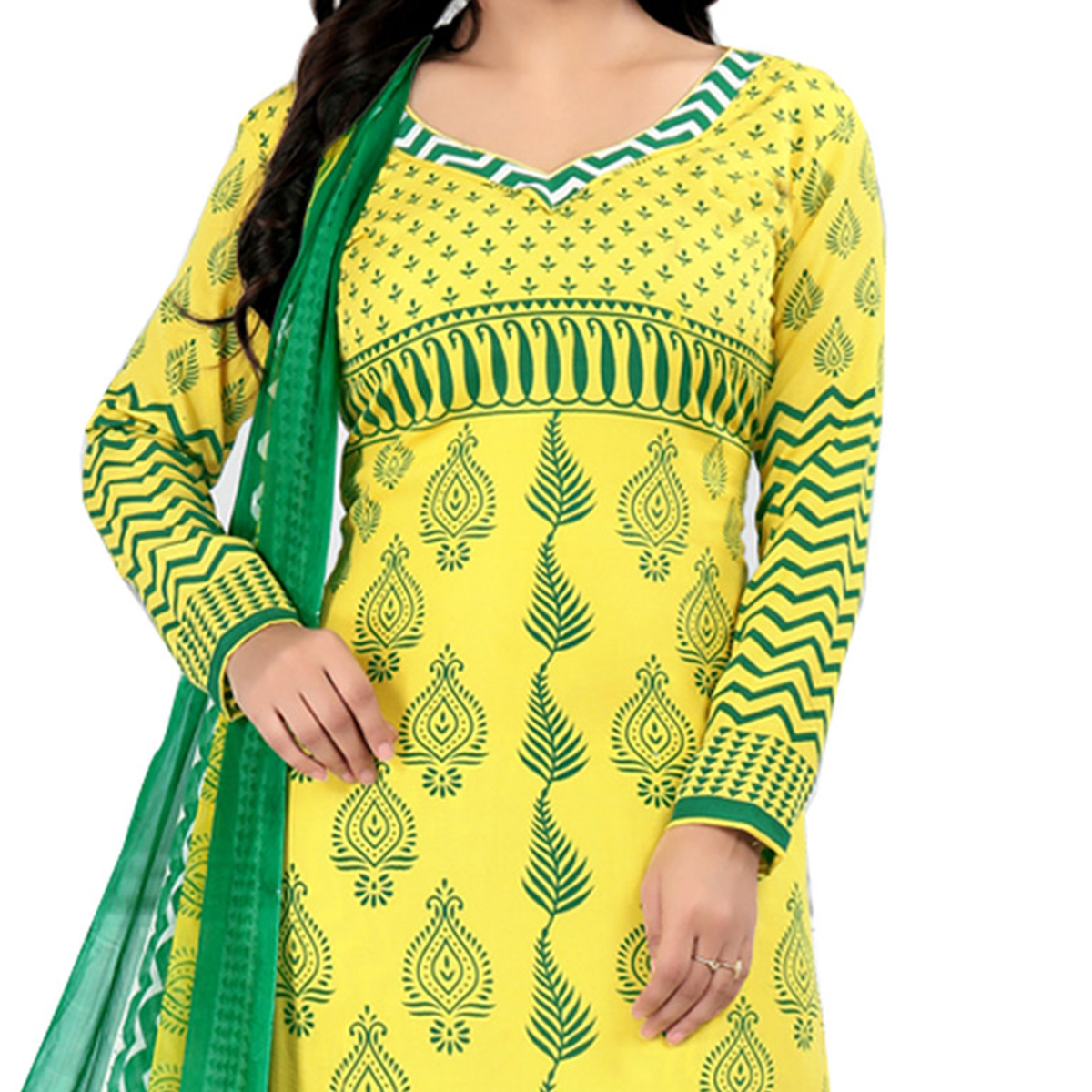 Lovely Yellow Cotton Printed Casual Dress Material