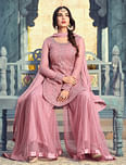 Refreshing Pink Colored Partywear Embroidered Netted Palazzo Suit