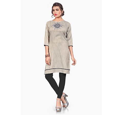 Stylish Gray Colored Embroidered Cotton Khadi Kurti