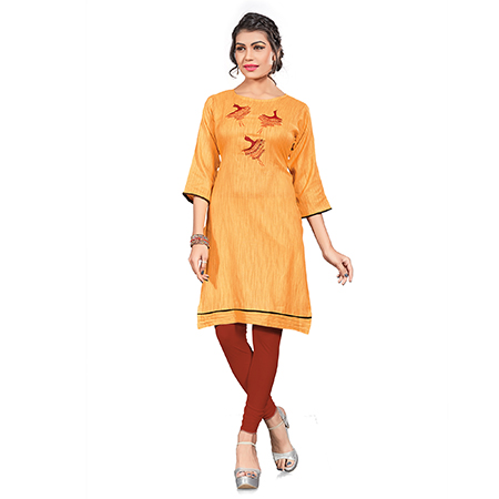 Classy Orange Colored Embroidered Cotton Khadi Kurti