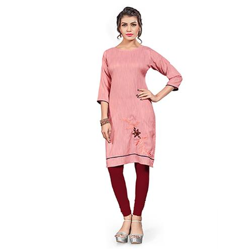 Girlish Pink Colored Embroidered Cotton Khadi Kurti